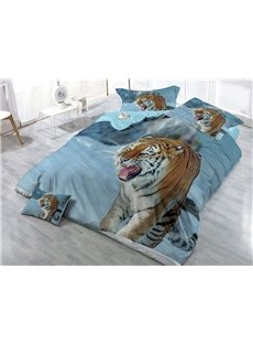 Wild Tiger Digital Printing 4-Piece 3D Bedding Sets/Duvet Covers