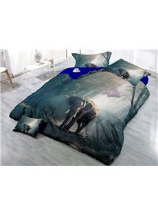 Elephant and Sunshine Forest Digital Printing 4-Piece 3D Bedding Sets/Duvet Covers