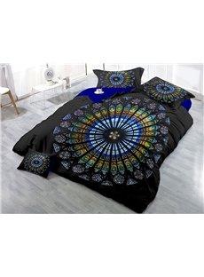Multi Color Circle Shape Printing 4-Piece 3D Bedding Sets/Duvet Covers