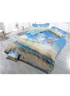 Flying Birds and Water Nature Scenery Printing 4-Piece 3D Bedding Sets/Duvet Covers