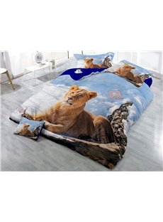 Lying Lion and Snow Scenery Digital Printing 3D 4-Piece Bedding Sets/Duvet Covers