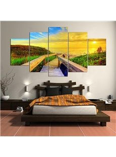 5 Pieces Hanging Canvas Grass Road Pattern Waterproof Eco-friendly Framed Wall Prints