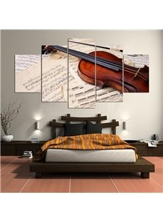 Violin Pattern 5 Pieces Hanging Canvas Waterproof Eco-friendly Framed Wall Prints