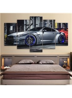 Modern Car Pattern 5 Pieces Hanging Canvas Waterproof Eco-friendly Framed Wall Prints