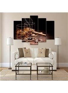 Creative Cigarette Pattern 5 Pieces Hanging Canvas Waterproof Eco-friendly Framed Wall Prints