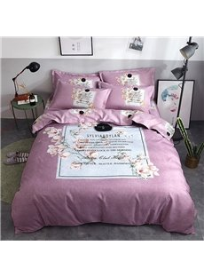 Square and Flower Printed Polyester 4-Piece Bedding Sets/Duvet Cover