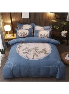 Birds and Tree Printed Polyester 4-Piece Bedding Sets/Duvet Cover