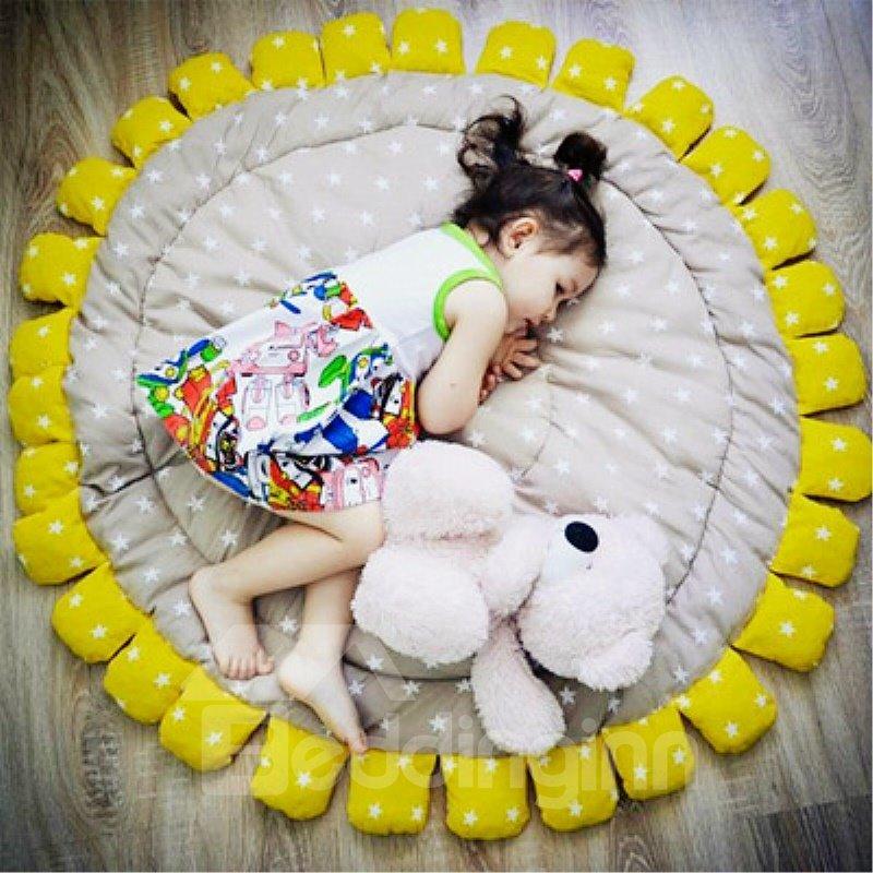 Sun Flower Pattern Handwork Cotton Soft Baby Play Floor Mat/Crawling Pad