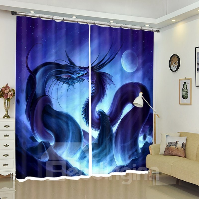 Creative Fighting Dragons Oil Painting 3D Curtain Blackout
