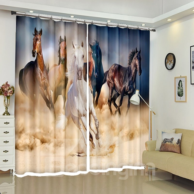 Running Horses Dynamic Herd Polyester Blackout Decoration Curtains