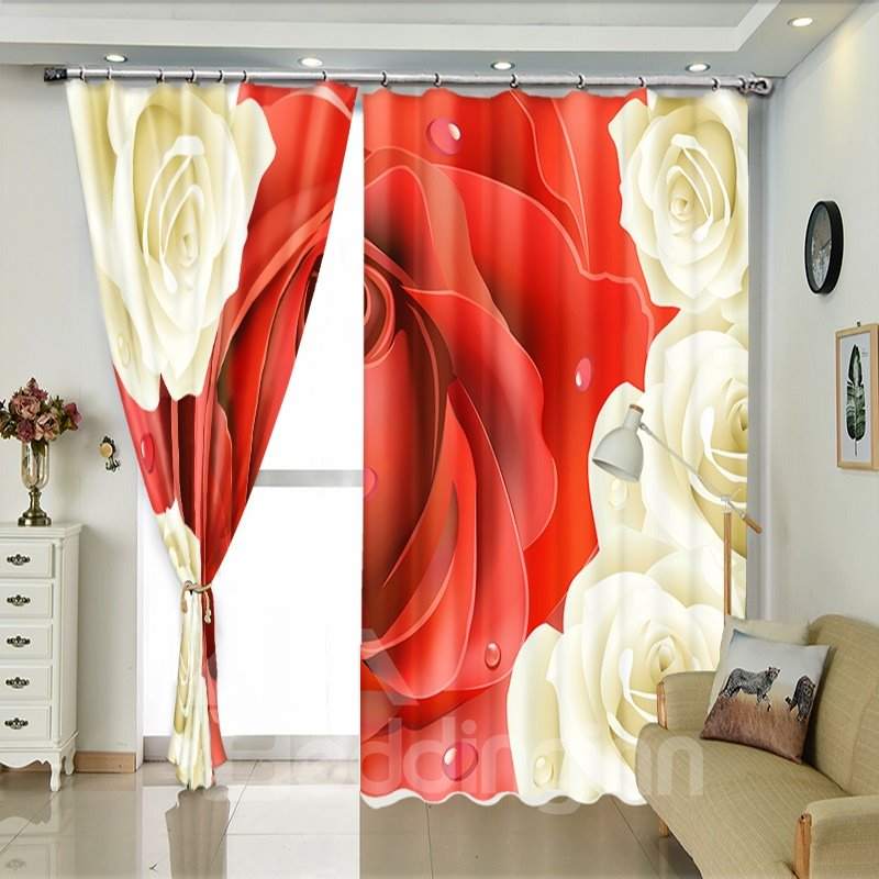 Red Rose Surrounding By Vivid Flower 3D Curtain Drapes