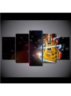 Classic Guitar Pattern 5 Pieces Hanging Canvas Waterproof Eco-friendly Framed Wall Prints