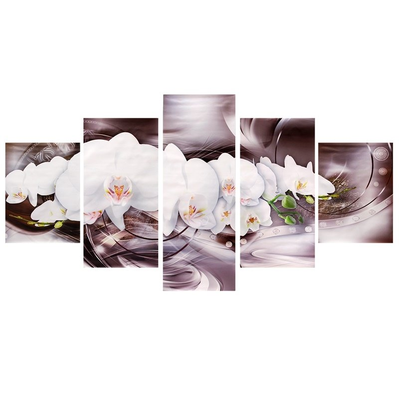 Lily Pattern 5 Pieces Hanging Canvas Waterproof Eco-friendly Framed Wall Prints