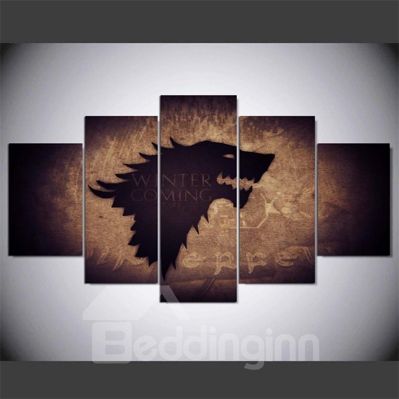 Creative Wolf Pattern 5 Pieces Hanging Canvas Waterproof Eco-friendly Framed Wall Prints