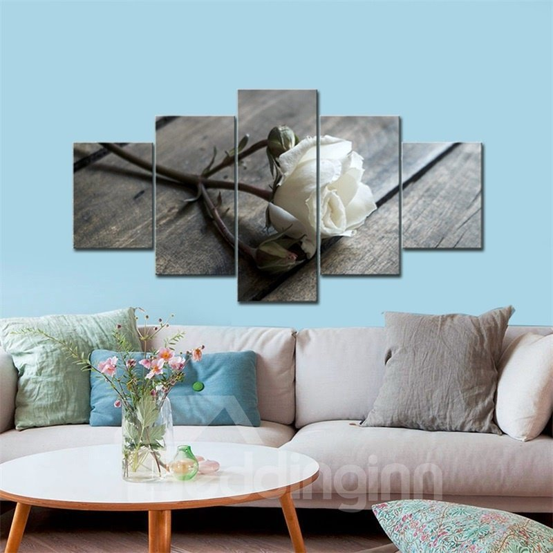 White Rose Pattern 5 Pieces Hanging Canvas Waterproof Eco-friendly Framed Wall Prints
