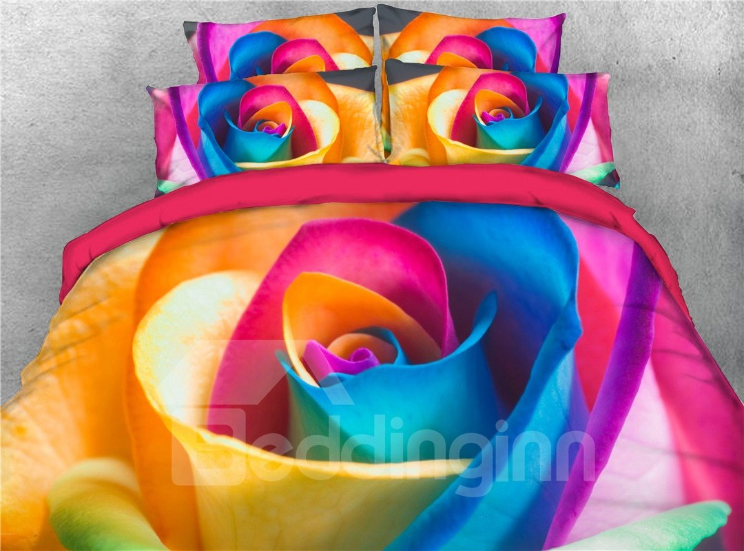 Cheerful Rainbow Rose Reactive Printing 3d 5 Piece Comforter Sets Pic