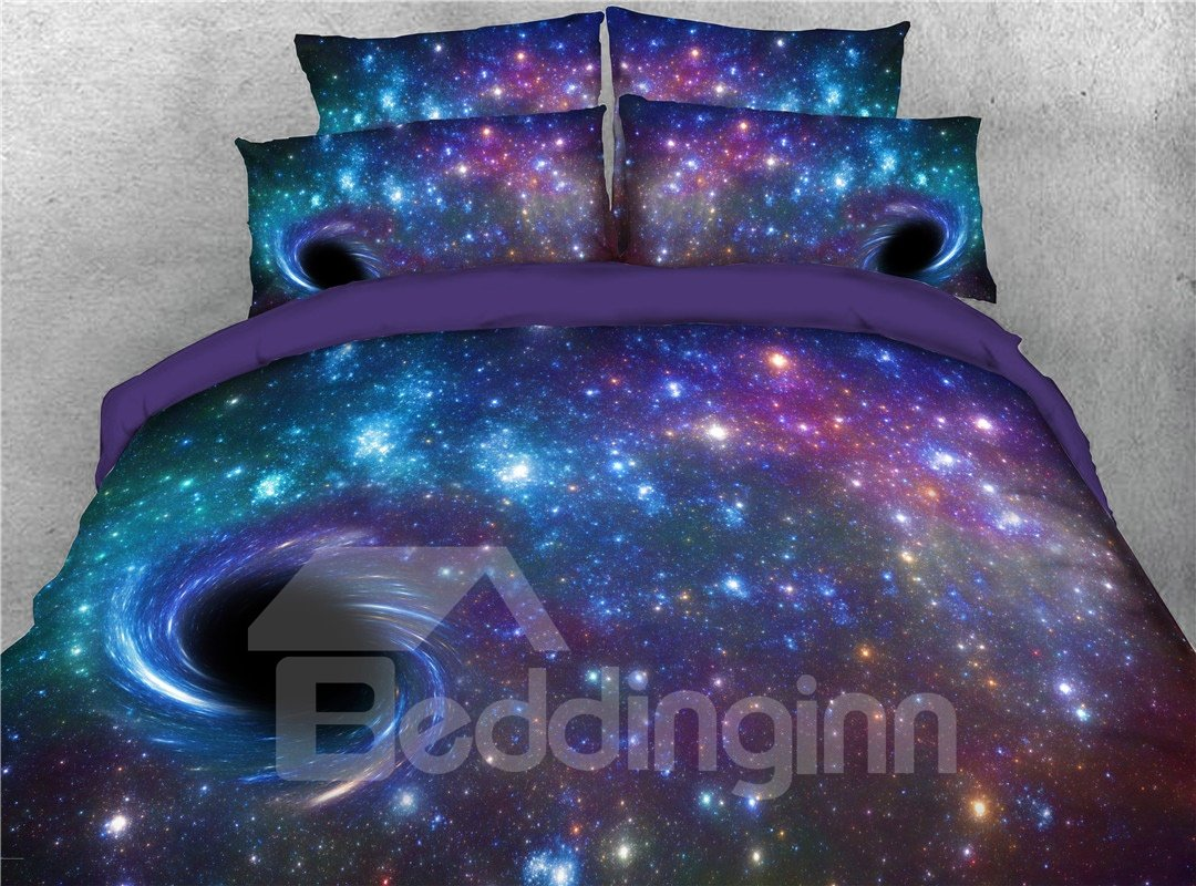 Black Holes In Purple Galaxy Printed 3D 5-Piece Comforter Sets