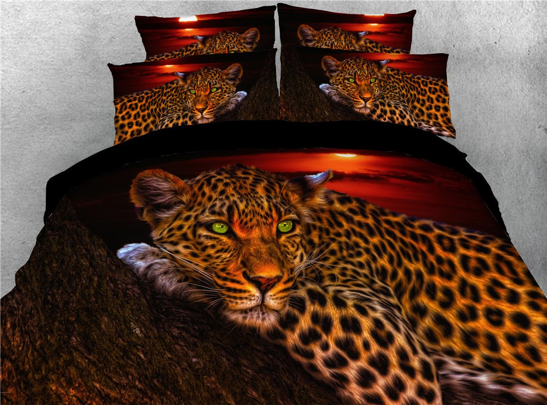 Wild Leopard Lying Trunk Digital Printed 3d 5 Piece Pic