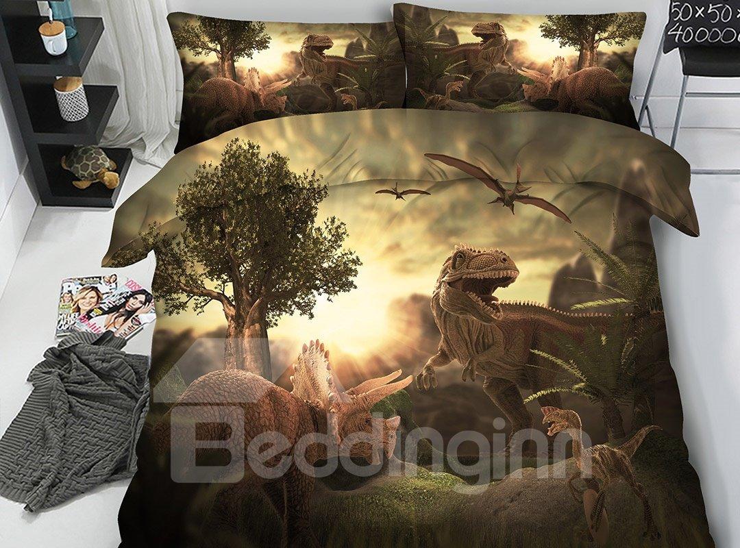 Jurassic World Theme Dinosaurs 3D Printing 5-Piece Comforter Sets