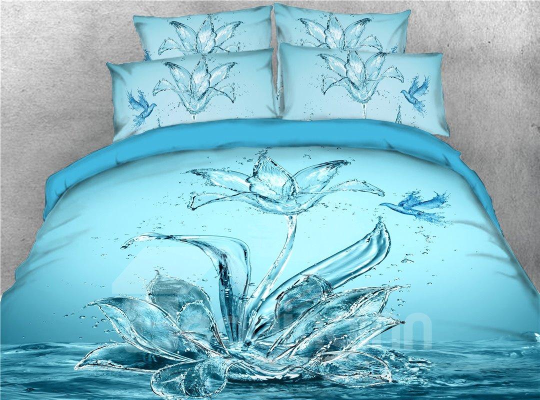 Blue Water Flower and Bird Digital Printed 4-Piece 3D Bedding Sets/Duvet Covers