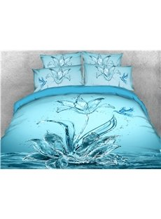 Blue Water Flower and Bird Digital Printed 4-Piece 3D Bedding Sets/Duvet Covers