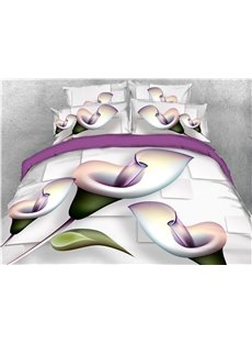 Flower and Geometric Pattern Cotton 4-Piece 3D Bedding Sets/Duvet Covers