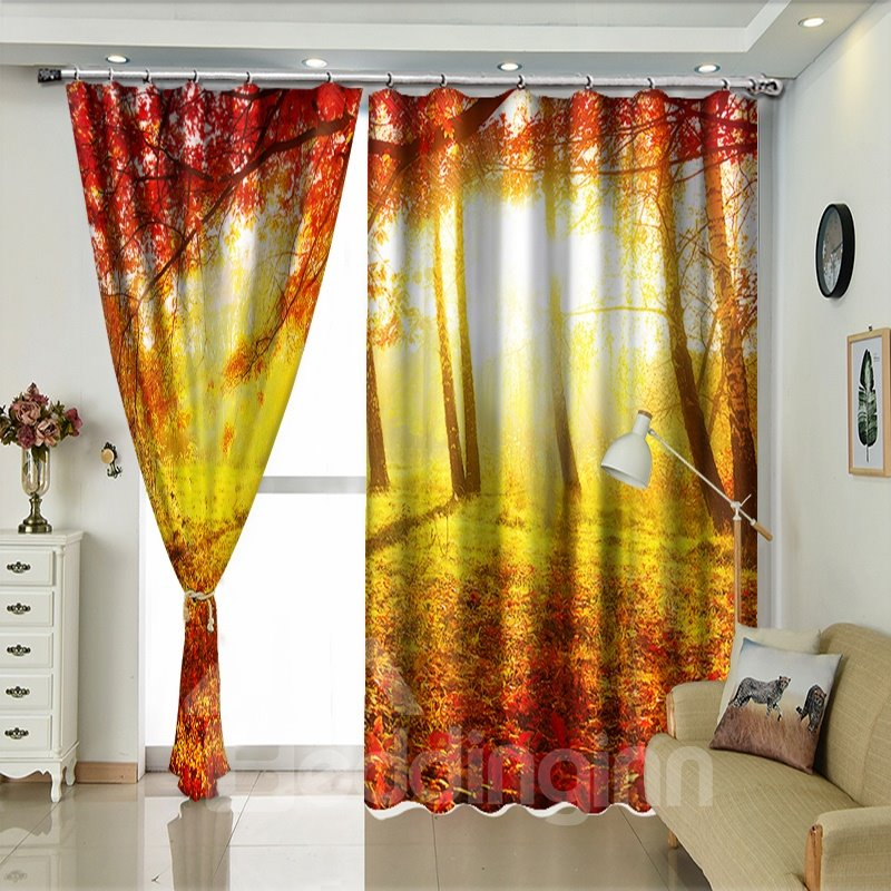 Red Ground of Leaves Forest in Autumn View Polyester Curtain / Blackout