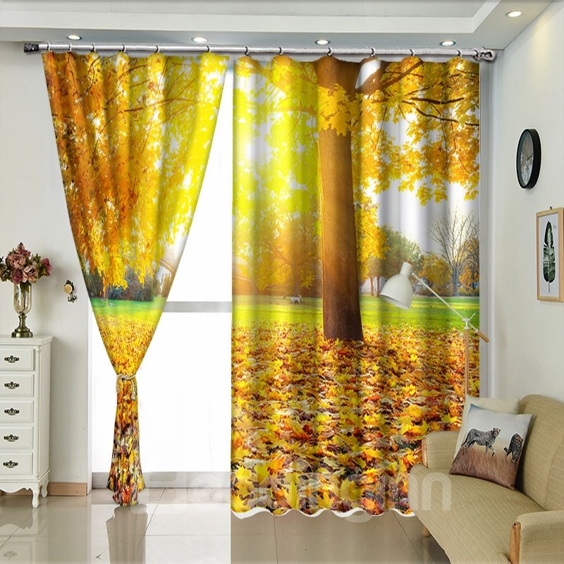Maple Leaves on the Ground Scenery Polyester Blackout / Curtain