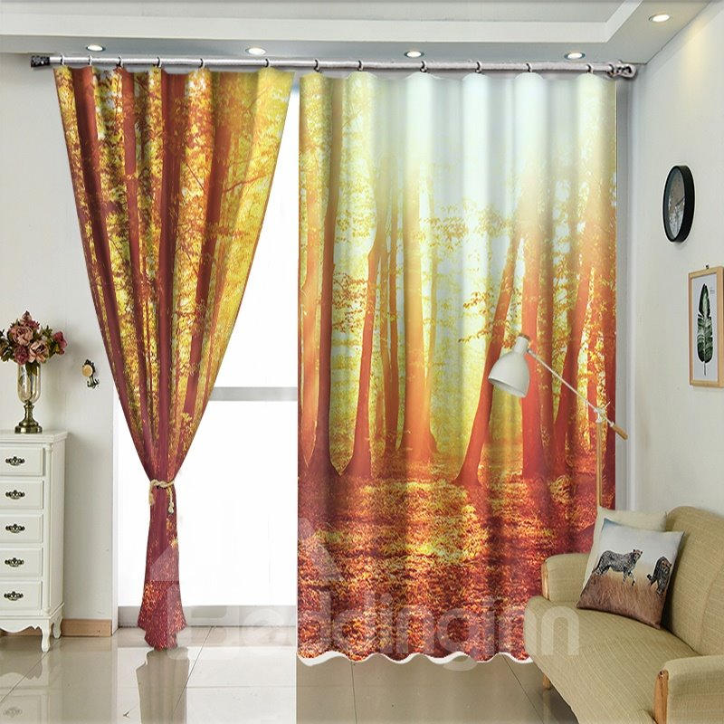 SunShine Through the Forest Tall Trees Scenery Curtain for Living Room