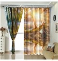 Sunshine in the Forest Smooth Lake Landscape Polyester Curtain