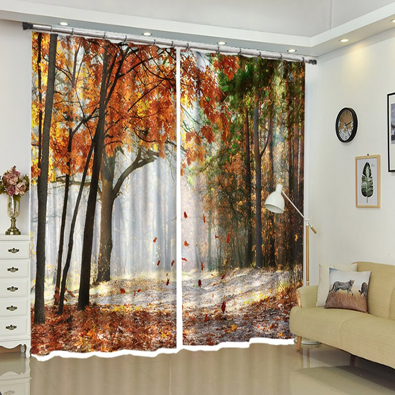Falling Leaves Moment Scenery Polyester 3d Curtains Decoration Pic