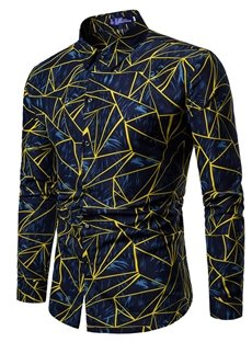 Square Neck Loose Model Print Long Sleeve Polyester Casual Style Shirt