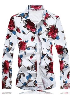 Easy Care Floral Cotton Long Sleeve Lapel Casual Style Shirt