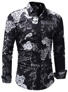Slim Model Lapel Print Cotton Casual Style Long Sleeve Shirt