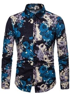 Casual Style Long Sleeve Korean Style Print Lapel Shirt