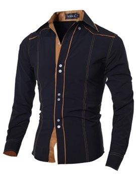 Square Neck Slim Model Casual Style Plain Cotton Shirt