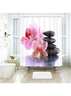 3D Flower And Stone Printed Polyester Bathroom Shower Curtain