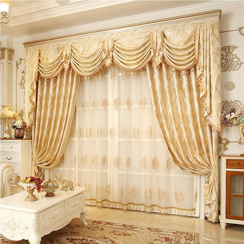 Classic Embroidered Blackout Silky Curtains Drapes Pic