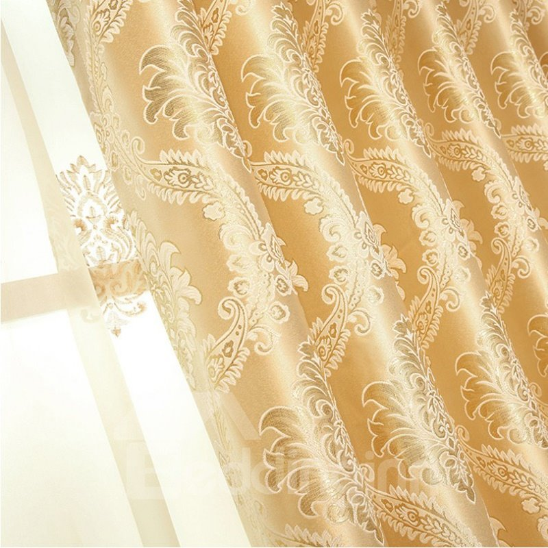 Classic Curtain / European Embroidered Style Decorative Drapes 2 Panels