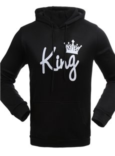 Loose Model Pullover Casual Style Letter Couple Hoodie
