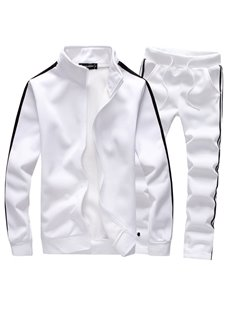 Fleece Slim Model Sports Style Cotton Plain Men's Casual Suit