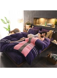 Stripes Pattern Sport Style Coral Fleece 4-Piece Fluffy Bedding Sets/Duvet Cover