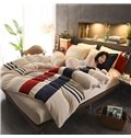 Stripes Pattern Sport Style Coral Fleece 4-Piece Fluffy Bedding Sets/Duvet Cover