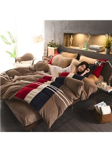 Simple Stripe Sport Style Rose Red Coral Fleece 4-Piece Fluffy Bedding Sets/Duvet Cover