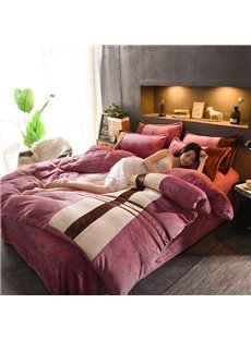 Simple Stripes Style Coral Fleece 4-Piece Fluffy Bedding Sets/Duvet Cover