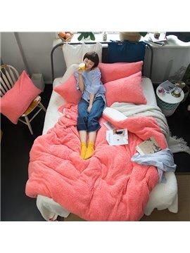 Solid Color Reversible Coral Fleece 4-Piece Fluffy Bedding Sets/Duvet Cover