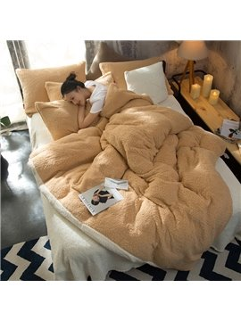 Solid Camel and White Reversible Coral Fleece 4-Piece Fluffy Bedding Sets/Duvet Cover