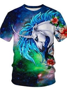 Straight Model Fastness Polyester Casual Style 3D T-Shirt