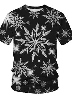 Round Neck Polyester Christmas Unisex 3D T-Shirt