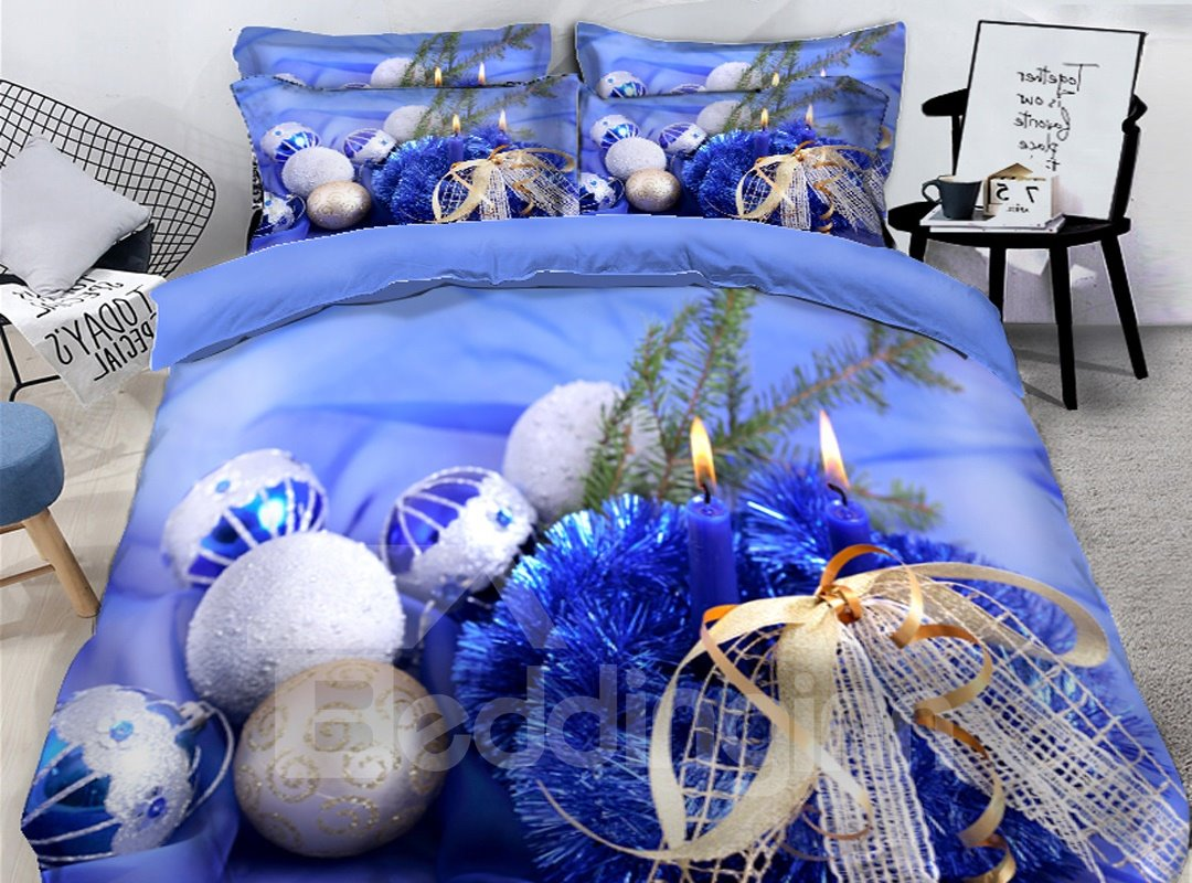 Glistening Christmas Tree Blue Printed 3D 4-Piece Bedding Sets/Duvet Covers